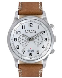 Sperry Leeward Multifunction Leather Strap Watch 42mm