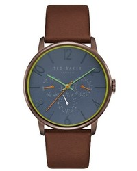 Ted Baker London James Multifunction Leather Strap Watch 42mm