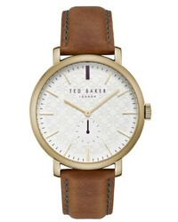 Ted Baker London Trent Leather Strap Watch 44mm