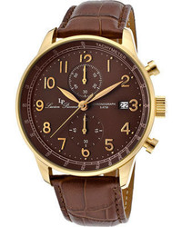 Lucien Piccard Lp 10503 Yg 04 Br Brown Genuine Leatherbrown Chronograph Watches