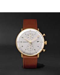 Junghans Max Bill Chronoscope 40mm Stainless Steel And Leather Watch Ref No 027780000