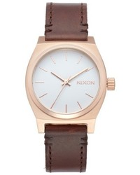 Nixon Medium Time Teller Leather Strap Watch 31mm