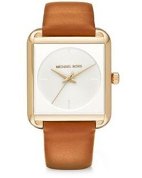 Michael Kors Michl Kors Lake Goldtone Stainless Steel Leather Strap Watch