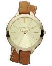 Michael Kors Michl Kors Double Wrap Leather Strap Watch 42mm