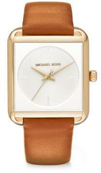 Michael Kors Michl Kors Lake Goldtone Stainless Steel Leather Strap Watch