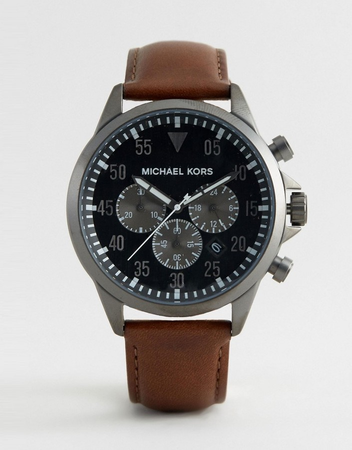 939be9af9a88 ... Michael Kors Michl Kors Mk8536 Gage Chronograph Leather Watch In Brown  ...