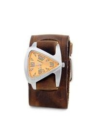 Nemesis Orange Triangle Leather Strap Watch