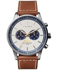 Triwa Ocean Nevil Chronograph Leather Strap Watch 42mm