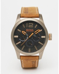Boss Orange Paris Leather Watch In Brown