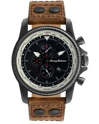 Tommy Bahama Pilot Chronograph Leather Strap Watch 45mm
