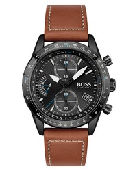 BOSS Pilot Edition Chronograph Leather Watch