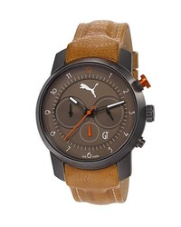 Puma Essence Chronograph Leather Strap Watch 40mm Brown