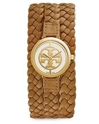 Tory Burch Reva Wide Braided Leather Watch