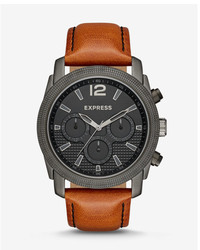 Express Rivington Textured Multi Function Leather Watch Cognac