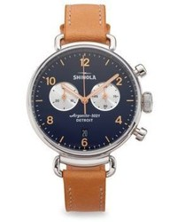 Shinola Runwell Natural Aniline Latigo Leather Strap Watch