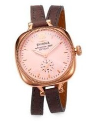 Rosegold Shinola Golmesky Rose Goldtone Pvd Stainless Steel Leather Double Wrap Watch