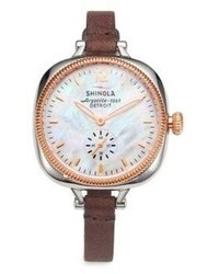 Rosegold Shinola Golmesky Two Tone Stainless Steel Leather Strap Watch