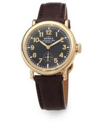 Shinola Runwell Goldtone Pvd Stainless Steel Leather Strap Watch