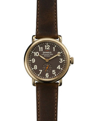 Shinola The Runwell Yellow Gold Watch With Brown Leather Strap 41mm
