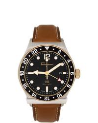 Salvatore Ferragamo Silver And Brown 1898 Gmt Watch