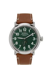 Shinola Silver And Green The Runwell 47 Mm Watch
