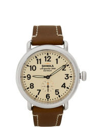 Shinola Silver And Off White The Runwell 41mm Watch