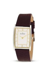 Skagen Textured Brown Leather Strap Watch