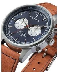 Triwa Snow Nevil Chronograph Leather Strap Watch 42mm