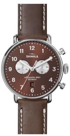 Shinola The Canfield Chrono Leather Strap Watch 43mm