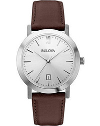 Bulova Unisex Dark Brown Leather Strap Watch 38mm 96b217