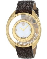 Versace 86q701md497 S497 Destiny Spirit Gold Ip Case Floating Spheres In Glass Bezel Mother Of Pearl Dial Brown Galuchat Leather Diamond Watch