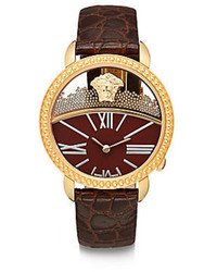 Versace Goldtone Finished Stainless Steel Leather Strap Watch