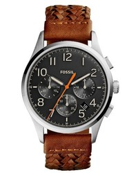 Fossil Vintage 54 Chronograph Leather Strap Watch 42mm