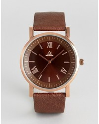 Asos Watch With Brown Faux Leather Strap And Roman Numerals