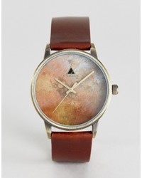 Asos Watch With Distressed Leather Strap And Burnished Face