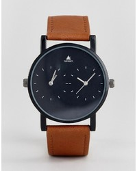 Asos Watch With Tan Faux Leather Strap And Contrast Face