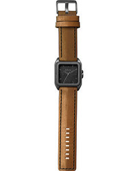 Dakota Watches Raw Brown Leatherworn Black Aluminum Analog Watches