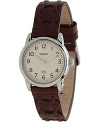 Timex Weekender Casual Brown Laced Leather Strap Watch
