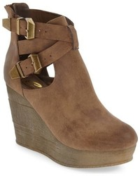 Brown Leather Wedge Ankle Boots
