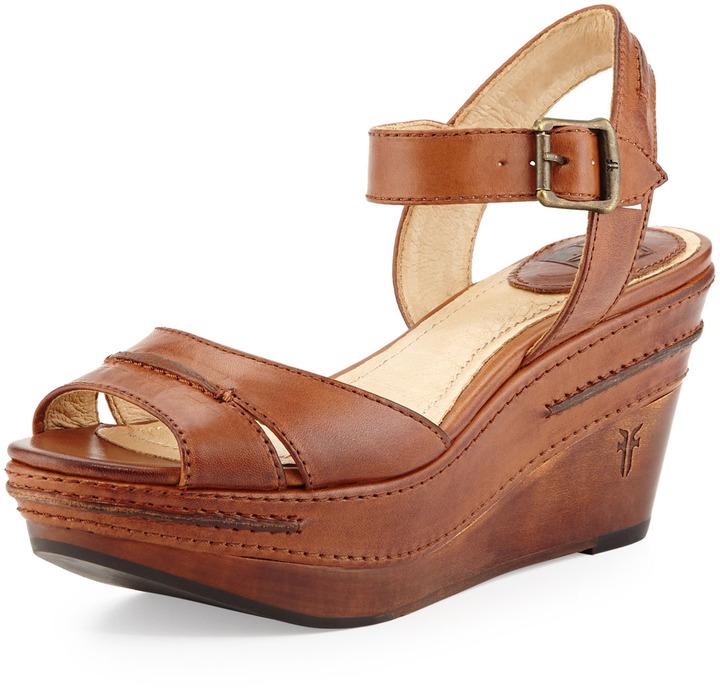 d37c74fa32b ... Frye Carlie Seam Leather Wedge Sandal Cognac ...