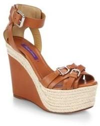 Ralph Lauren Collection Finola Horsebit Leather Espadrille Wedge Sandals
