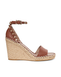 Valentino Garavani The Textured Leather Espadrille Wedge Sandals