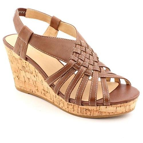 014dc66bd37a Kelly   Katie Campania Brown Wide Leather Wedge Sandals Shoes