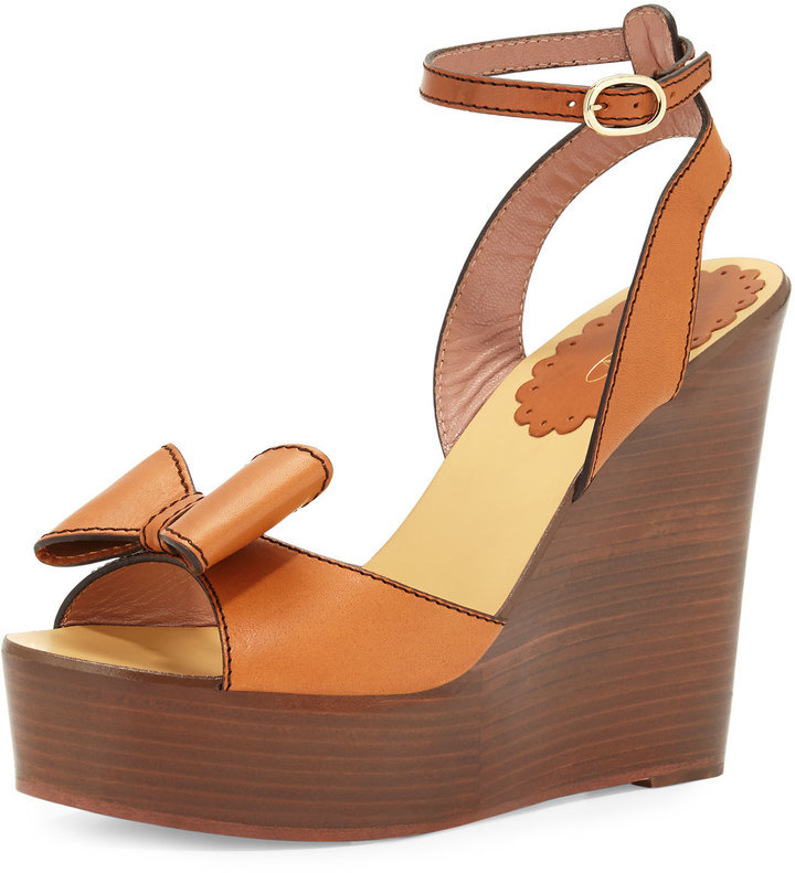 RED Valentino Leather Bow Platform Wedge Sandal Brown