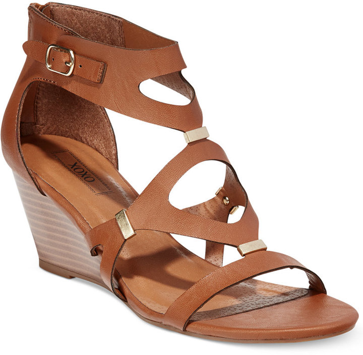 77695344056 ... Brown Leather Wedge Sandals XOXO Sees Gladiator Wedge Sandals ...