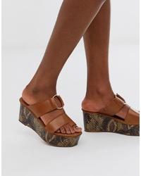 ASOS DESIGN Treasure Leather Toe Loop Sandal In Tan Snake
