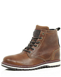 River Island Brown Leather Fleece Lined Worker Boots