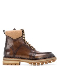 Santoni Chunky Lace Up Leather Boots