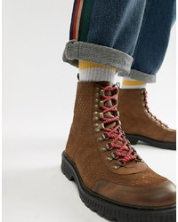 63beee0ee94 Men's Brown Leather Work Boots from Asos | Men's Fashion | Lookastic.com