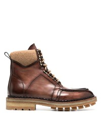 Santoni Leather Lace Up Boots